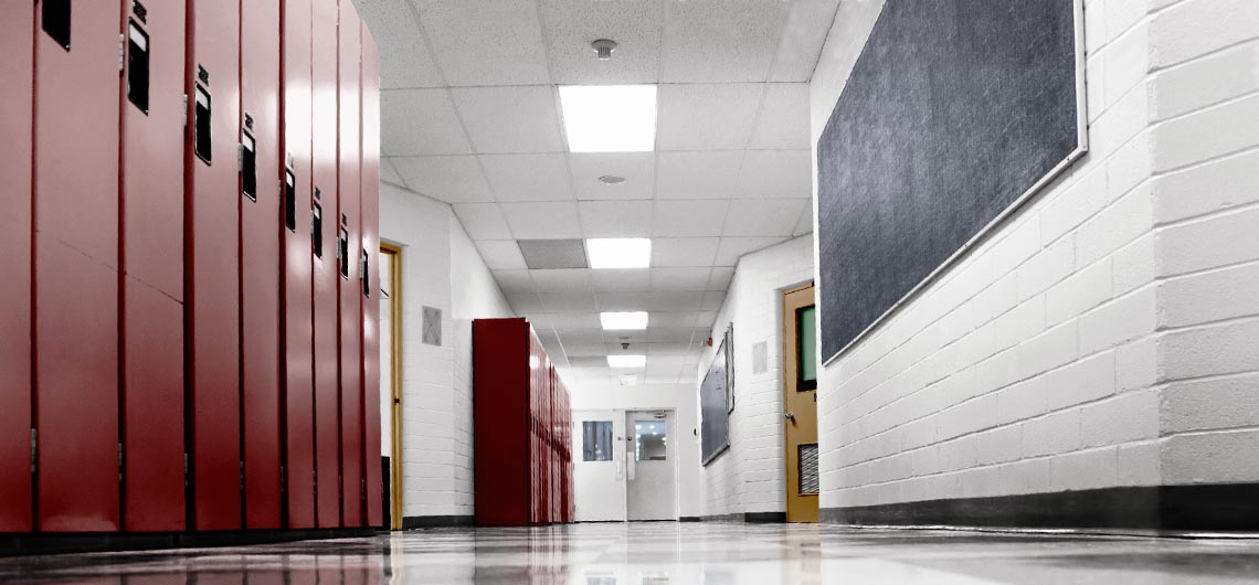 colorful school hallway